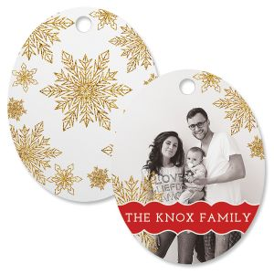 Glitter Snowflake Personalized Photo Ornament – Oval