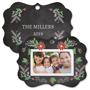 Festive Chalk Personalized Photo Ornament - Bracket