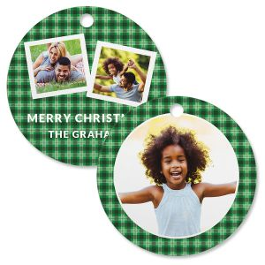 Green Plaid Personalized Photo Ornament – Circle