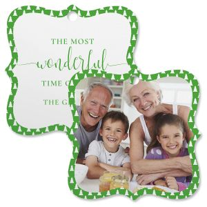 Green Tree Personalized Photo Ornament – Square Bracket