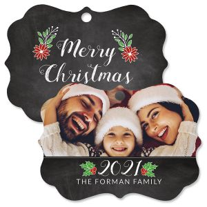 Merry Chalk Personalized Photo Ornament - Bracket