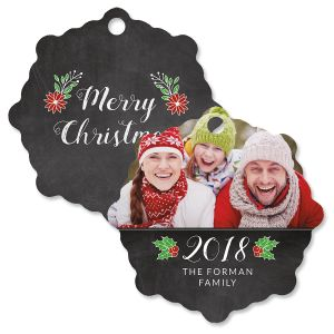Merry Chalk Photo Ornament – Snowflake