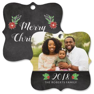 Merry Chalkboard Personalized Photo Ornament – Square Bracket