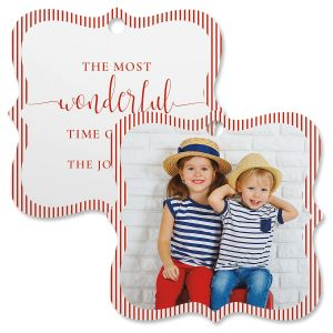 Pinstripe Personalized Photo Square Bracket Ornament
