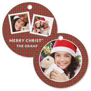 Red Plaid Personalized Photo Ornament – Circle