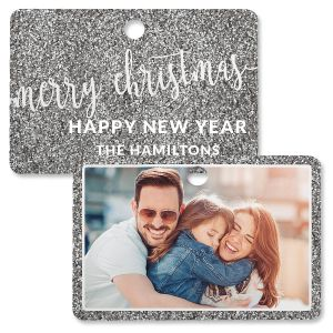 Silver Glitter Personalized Rectangle Photo Ornament