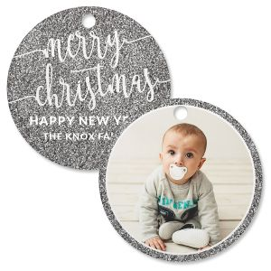 Silver Glitter Personalized Photo Ornament – Circle