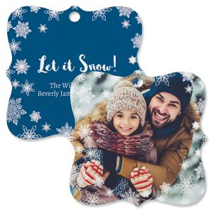 Let It Snow Personalized Photo Ornament – Square Bracket