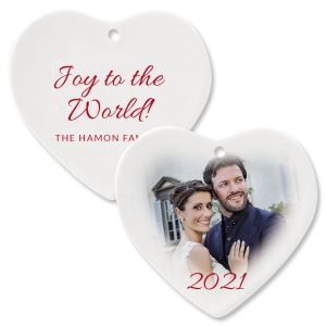 Joy Personalized Photo Ornament – Heart
