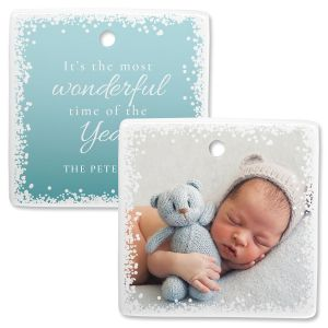 Confetti Snow Personalized Square Photo Ornament