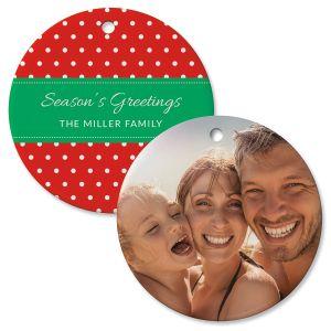 Polka Dot Personalized Photo Ornament