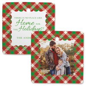 Scallop Plaid Personalized Square Photo Ornament