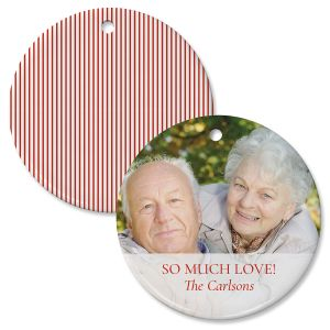 Red Stripe Personalized Photo Ornament