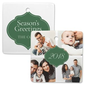 Year Personalized 4 Photo Square Ornament