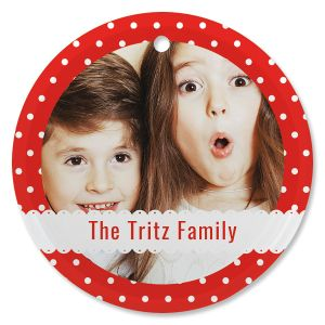 Polka Dot Personalized Photo Ornament - Glass Round