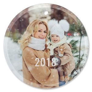 Snowflake Photo Ornament - Glass Round
