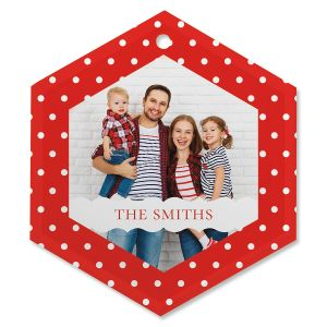 Polka Dot Personalized Photo Ornament - Glass Hexagon