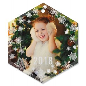 Snowflake Personalized Photo Ornament - Glass Hexagon