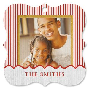 Candy Stripe Photo Ornament - Square Bracket