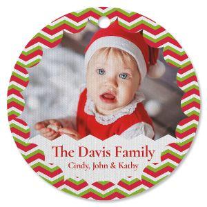 Chevron Family Photo Ornament - Circle