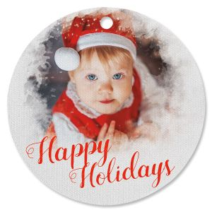Watercolor Photo Ornament - Circle