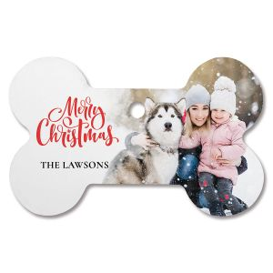 Merry Christmas Personalized Photo Ornament - Bone