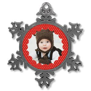 Polka Dot Photo Ornament - Metal Snowflake
