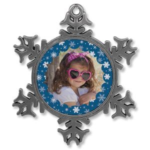 Snowflake Photo Ornament - Metal Snowflake