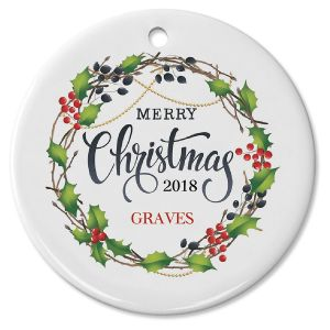 Personalized Merry Christmas Berry Wreath Ornament