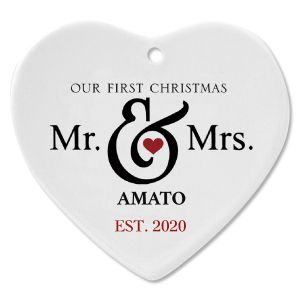 Mr. and Mrs. First Ceramic Personalized Christmas Ornament