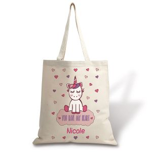 Personalized Unicorn Natural Canvas Tote
