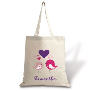 Personalized Love Birds Natural Canvas Tote