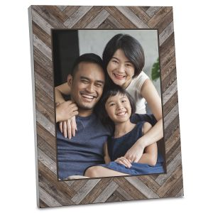 Chevron Personalized Wood Photo Plaque