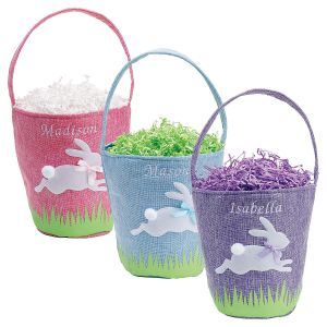 Linen Easter Bunny Personalized Baskets