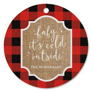 Buffalo Check Personalized Ornament Circle