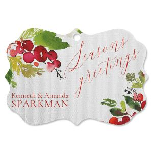 Watercolor Holly Personalized Ornament