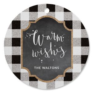 White Buffalo Check Personalized Ornament Circle