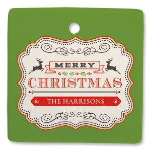 Vintage Badge Personalized Square Ornament