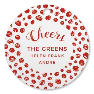 Cheers Watercolor Personalized Ornament Circle