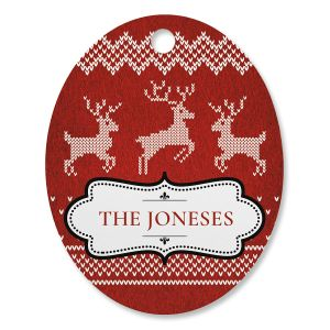 Festive Knitted Personalized Ornament Oval