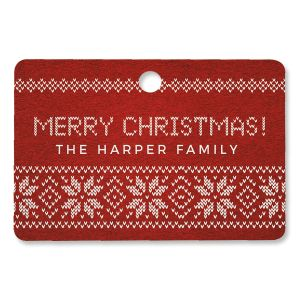 Festive Knitted Personalized Rectangle Ornament