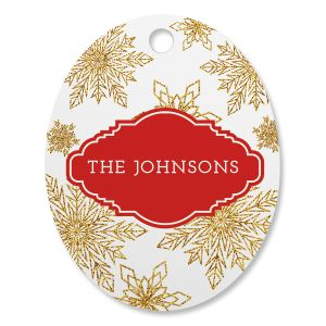 Glitter Snowflake Personalized Oval Ornament
