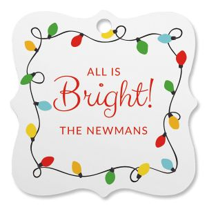 String Lights Personalized Square Ornament
