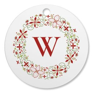 Wreath Initial Personalized Circle Ornament