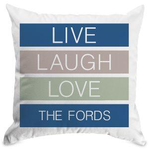 Live Laugh Love Personalized Pillow White