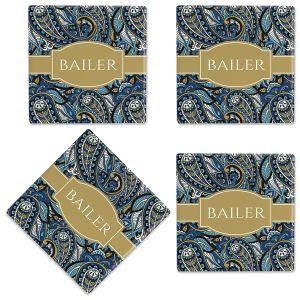 Paisley Personalized Ceramic Coasters