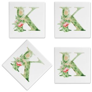 Watercolor Initial Personalized Ceramic Coasters