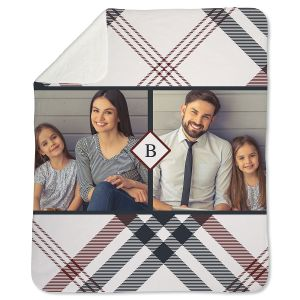 Sherpa Fleece Plaid Personalized Photo Throw