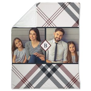 Coral Fleece Plaid Personalized Photo Throw
