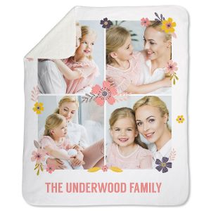Sherpa Floral Personalized Photo Throw